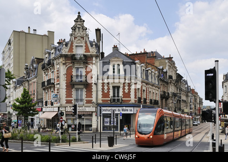 modern tram in the old town of Le Mans, France, Le Mans - Stock Photo