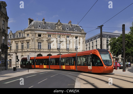 modern tram in Le Mans, France, Le Mans - Stock Photo