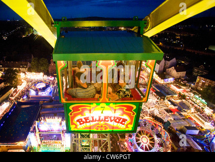 air photo, big wheel on the Cranger fair at night, Germany, North Rhine-Westphalia, Ruhr Area, Herne - Stock Photo