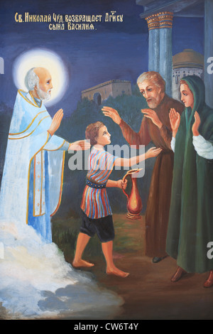 Modern frescoe about miracles of St. Nicolas, Church of St. Nicolas (1820-s) - Stock Photo
