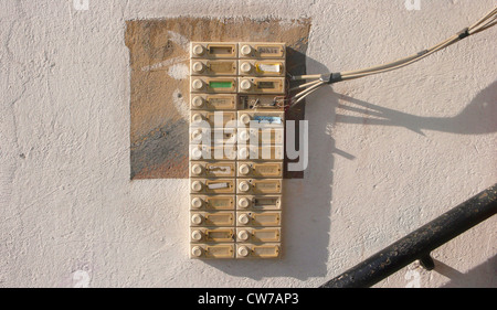 bell plates of an apartment building in need of rehabilitation, Germany, North Rhine-Westphalia, Ruhr Area, Witten - Stock Photo