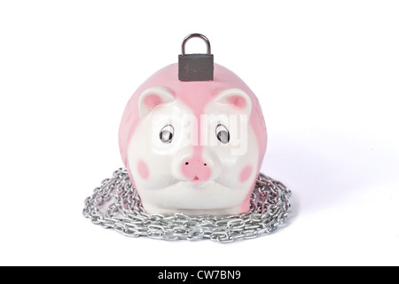 Piggy bank with padlock on white - Stock Photo