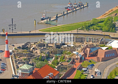 the 'Zoo at the sea' at the mouth of the Weser with the lighthouse 'Bremerhaven Unterfeuer', Germany, Freie Hansestadt - Stock Photo