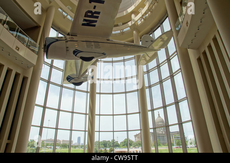 wiley post airplane capitol building in background interior oklahoma history center 23rd lincoln boulevard - Stock Photo