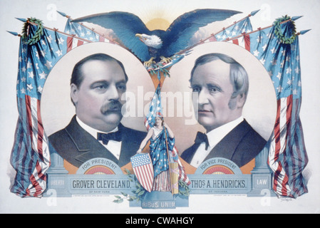 1884 Democratic campaign poster with portraits of Grover Cleveland and Thomas A. Hendricks. - Stock Photo