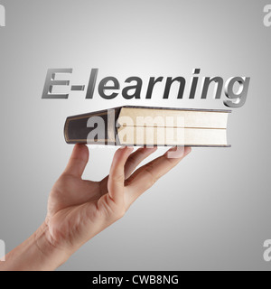 hand writing a e-learning word concept - Stock Photo