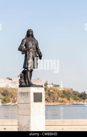 Statue of Pierre Le Moyne D'Iberville on the Malecon by Havana Harbor, Havana, Cuba. - Stock Photo
