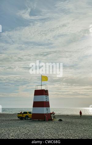 Lifeguard station on a Danish beach - Stock Photo