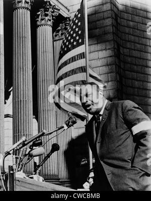 James Farmer, speaking at Foley Square in New York City. The civil rights leader spoke at a memorial for four African - Stock Photo