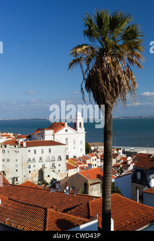 View over Alfama district from Miradouro das Portas do Sol - Stock Photo