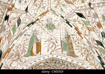 Ceiling painting in the 14th century Taivassalo Church (Church of the Holy Cross), Taivassalo, Finland - Stock Photo