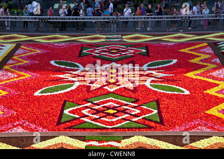 Detail of 2012 Flower Carpet, Tapis de Fleurs, in the Grand-Place, Brussels - Stock Photo