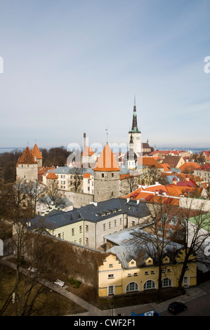 View of Tallinn, Estonia, seen from the Toompa Hill above the old town. - Stock Photo