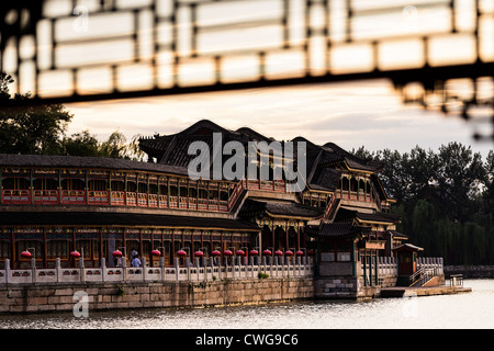 View at sunset of the decorative colonnade in Beihai Park in Beijing, China - Stock Photo