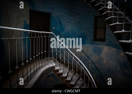 Grunge stairs in an old, dark abandoned building - Stock Photo