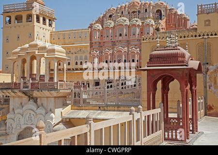 Hawa Mahal / Palace of the Winds in Jaipur, Rajasthan, India - Stock Photo