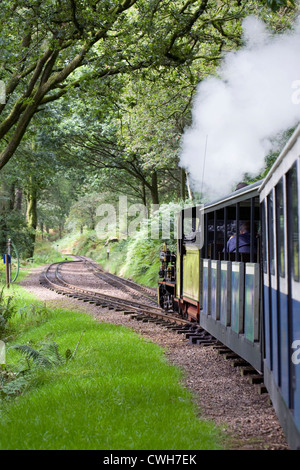 Northern Rock steam train on the Boot to Ravenglass narrow gauge railway. - Stock Photo