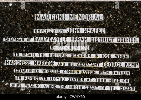 Memorial to Marchese Marconi, who established wireless communication for tracking ships - Stock Photo
