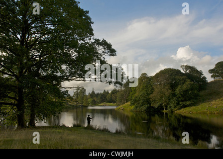 Man fishing in Ghyll Head Reservoir, near Bowness, South Lakeland, Lake District National Park, Cumbria, England - Stock Photo