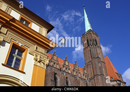 Holy Cross gothic church Wroclaw Ostrow Tumski Poland - Stock Photo