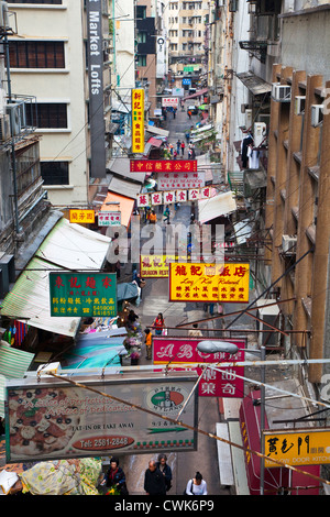 Asia, China, Hong Kong. An elevated view of a typical street in Hong Kong. - Stock Photo