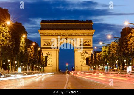 Arc de Triomphe at dusk, Champs Elysees, Paris,France,Europe - Stock Photo