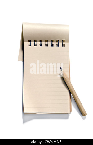 Notepad with a pencil, blank, isolated on 100% white background - Stock Photo