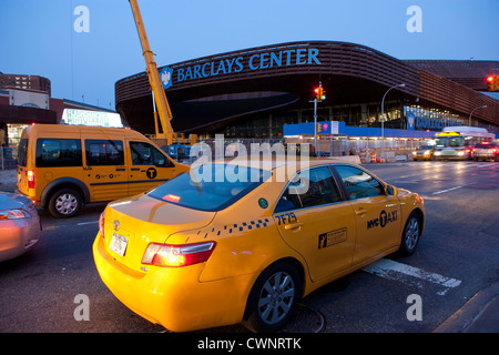 New York City Taxis in front of the new 19,000-seat stadium Barclays Center which opens to the public on September - Stock Photo