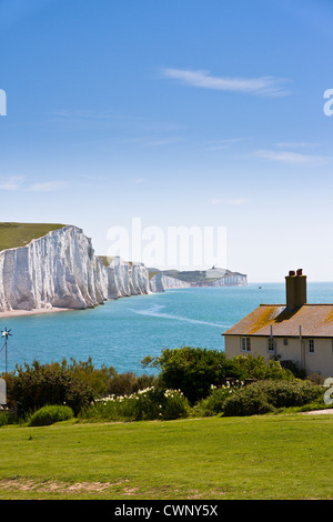 The coastguard cottages and the Seven Sisters cliffs - Stock Photo