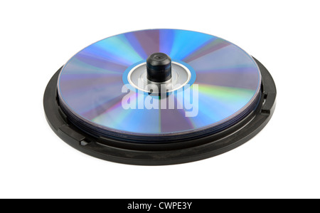many CD's isolated on the white background - Stock Photo