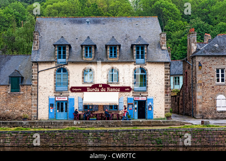 French creperie cafe Dinan Brittany - Stock Photo