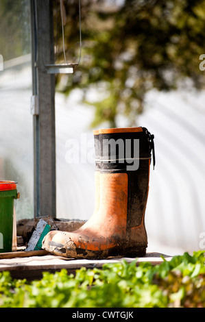 Dirty rubber boot in garden - Stock Photo