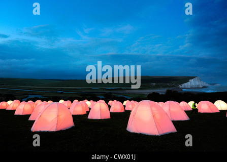 Peace Camp art installation by Deborah Warner, in situ at Seven Sisters Country Park, East Sussex - Stock Photo