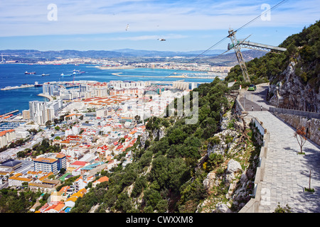 Picturesque scenery of the Gibraltar city, view from above. - Stock Photo