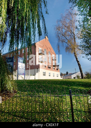 commercial building with fence - Stock Photo