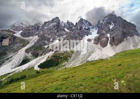 Pale di San Martino against the sun, Trentino, Italy - Stock Photo