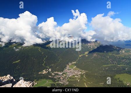 Aerial view of San Martino di Castrozza, famous small town in Primiero valley, Trentino, Italy - Stock Photo