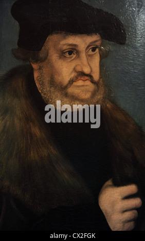 Frederick III of Saxony (1463-1525). Elector of Saxony. Portrait by Lucas Cranach the Elder (1472-1553), 1525-1527. - Stock Photo