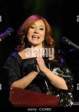 ITAR-TASS: MOSCOW, RUSSIA. OCTOBER 2, 2011. American pianist, singer-songwriter and composer Tori Amos performs - Stock Photo