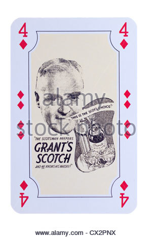 William Grants whisky special edition playing card advertisement illustration dating from 1928 to 1940. Editorial - Stock Photo