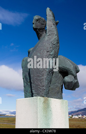 Fishermen's monument in Höfn (Höfn Í Hornafirđi), South East Iceland - Stock Photo