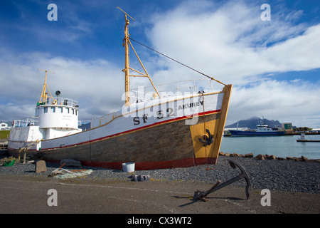 Fishing Vessel, SF 52 Akurey, on display as a monument at Hofn Harbour (Höfn Í Hornafirđi), South East Iceland - Stock Photo