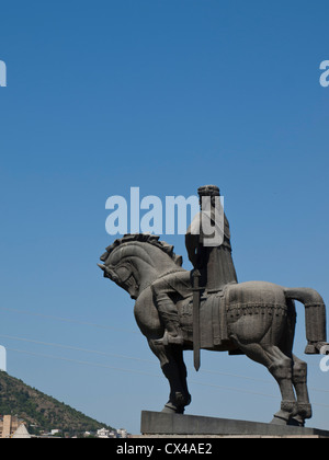 Equestrian statue of King Vakhtang Gorgasali, Tbilisi - Stock Photo