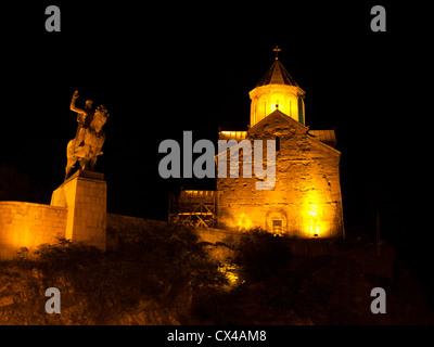 Metekhi Church and King Vakhtang Gorgasali equestrian statue, night view - Stock Photo