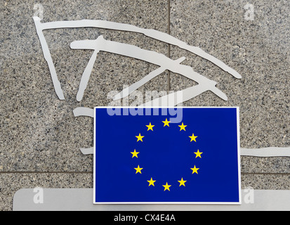 European Union flag and symbol on the wall of the European Parliament buildings in Brussels, Belgium - Stock Photo