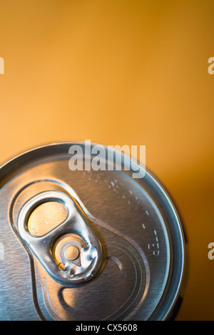 Beverage aluminum can view from above - Stock Photo