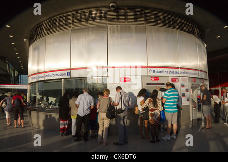 Ticket office for Emirates Air Line cable car Greenwich Peninsula London England UK - Stock Photo