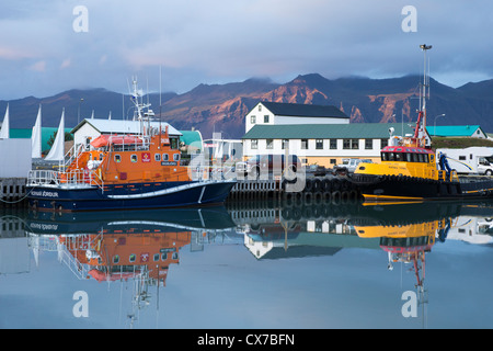 Hofn (höfn Í hornafirđi) harbour at dusk, Iceland - Stock Photo