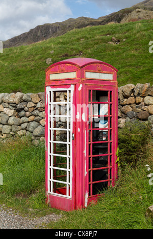 LAKE DISTRICT, ENGLAND - SEPTEMBER 4: Old British Telecom phone box being renovated as art project on September - Stock Photo