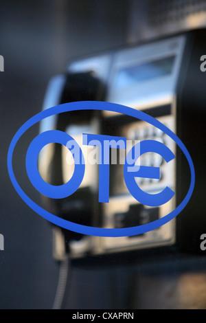 Rhodes, the Greek telephone company OTE logo - Stock Photo